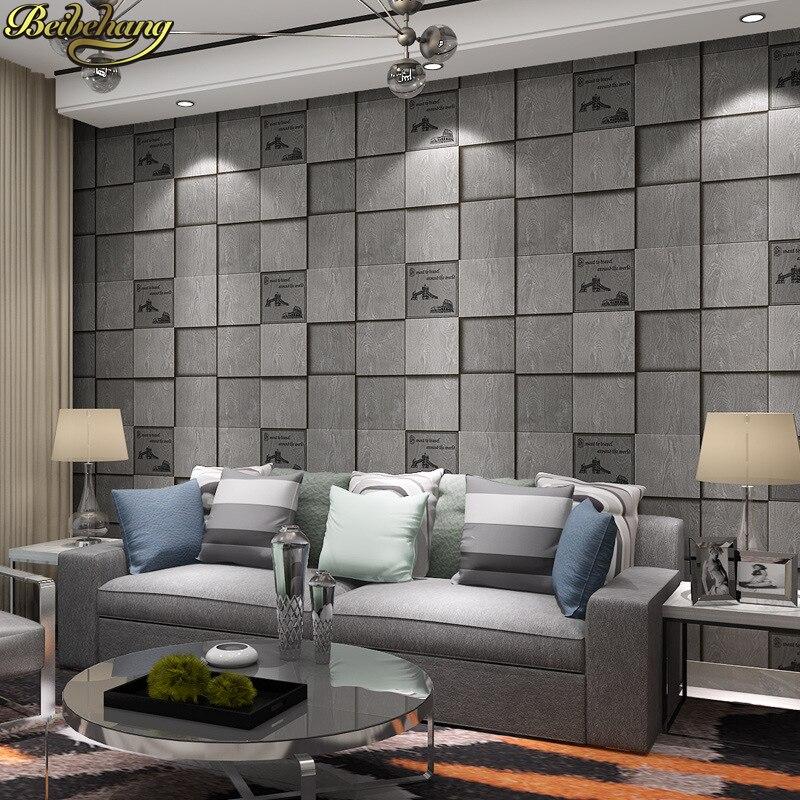 beibehang Retro Square lattice Wallpaper For Walls Decor Embossed Living room papel de parede para quarto 3D wall paper Bar KTV <br>