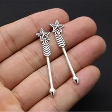 Top Fashion Solid Silver 925 Star & Arrow Pendant Drop Earring Women 100% Sterling Silver 925 Cool Handmade Desinger Jewelry(China)