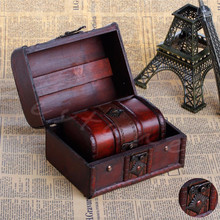 2pcs Chic Wooden Pirate Jewellery Storage Box Case Holder Vintage Treasure Chest JJ2834