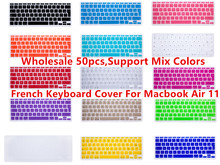 "HRH 50pcs AZERTY French EU UK Silicone Keyboard Cover For Apple Macbook Air 11"" 11.6 Inch Protective Film For Mac laptop Skin(China)"