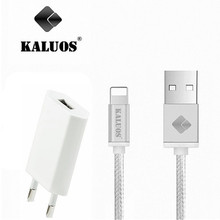 KALUOS Fast Charger Smart Charger For iPhone 5/5S 6/6S Plus iPad Mini 2 Air 2 Braided Cable Wire Cord Line 100cm 1 Meter Long
