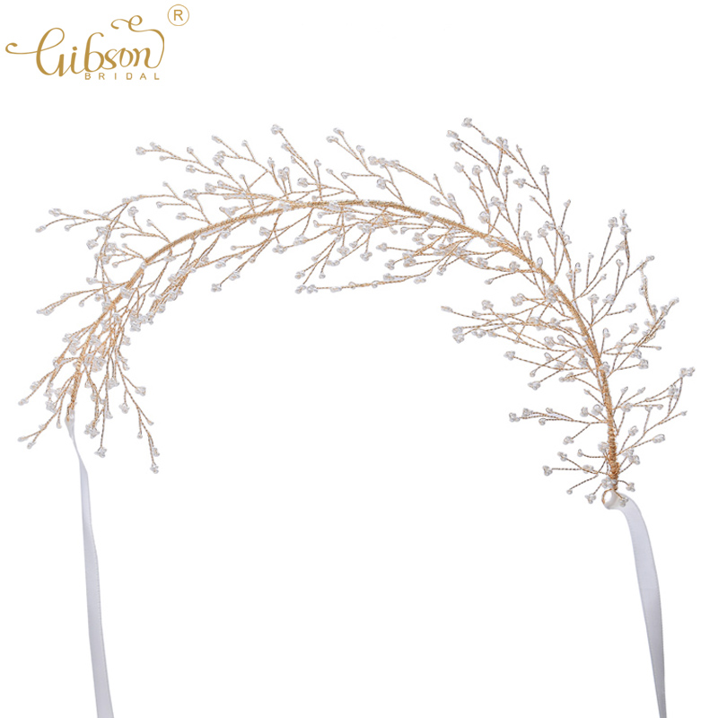 Floating Hair Vine Bridal Tiara Headpiece Small Beads Clusters Branch Women Hair Band Wedding Headband