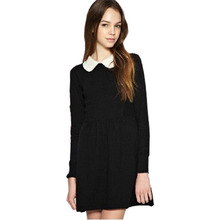 New European elastic waist candy doll collar long-sleeved dress Puff 184