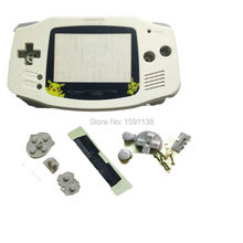 New Arrival White Color Cartoon Plastic Lens For Gameboy Advance GBA Console Shell Case w/ Rubber Pads Screws Buttons Lens