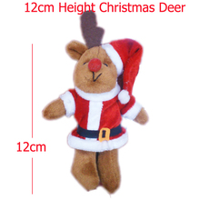 H=12cm Stuffed Dolls,Cartoon Christmas Deer With Hat Plush Pendants Toys For Key/Phone/Bag,Plush Toys, Free Shipping 50pcs/Lot