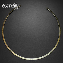 OUMEILY New Gold Color Jewelry For Women Maxi Big Choker Necklace Bridal Wedding Dress High Quality Jewellery Gift Accessories