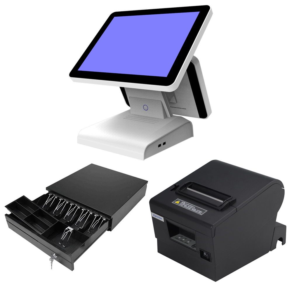 With 80mm thermal Printer Cash Drawer 15 inch All in one POS Touch Screen POS System Cash Register Complete set