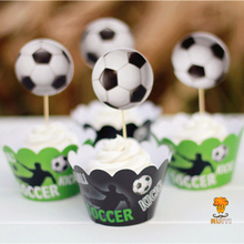 24pcs Soccer football cupcake wrapper case kids birthday decoration favors festa cake toppers baby shower party supplies AW-0023