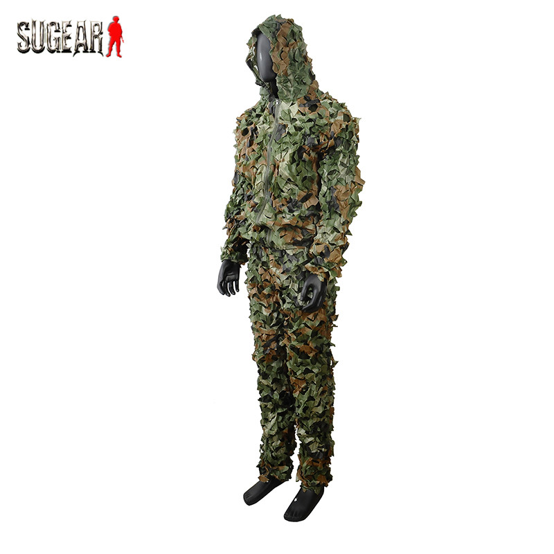 3D Leaf Camouflage Hunting Photography Zipper Ghillie Suit Uniform Military Training Disguised Breathable Lightweight Set Cloth<br><br>Aliexpress