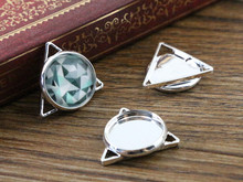 16pcs 12mm Inner Size Silver Plated Brass Material Simple Style Cabochon Base Cameo Setting Charms Pendant Tray (A2-49)(China)