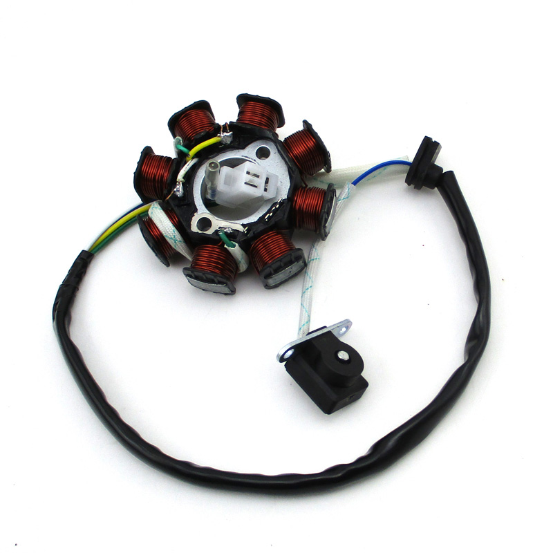 XLJOY 8 Coil 4 Wire DC Magneto Stator For Chinese GY6 50cc Moped Scooter ATV Quad Go Kart