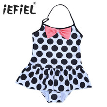 2017 Kids Infant Girls One-piece Halter Polka Dots Swimsuit Girls Clothes for Summer Surfing and Beaching Swimming Holiday Wear(China)