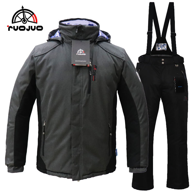 male hot new ski suit gray