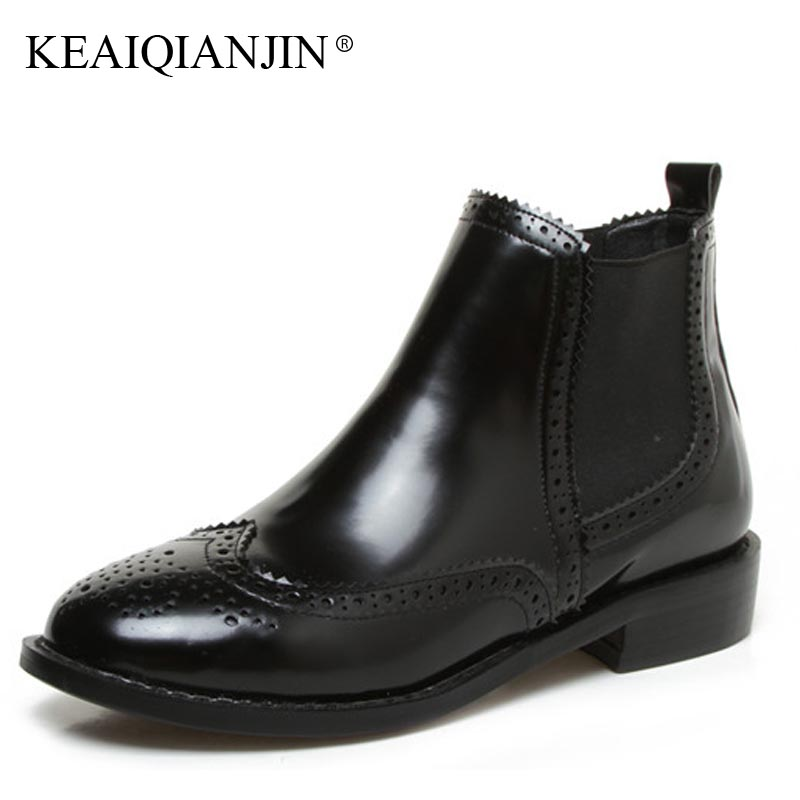 KEAIQIANJIN Woman Red Martin Black Plus Size 32 - 43 Plush Autumn Winter Chelsea Boots Fashion Patent Leather Round Toe Shoes<br>