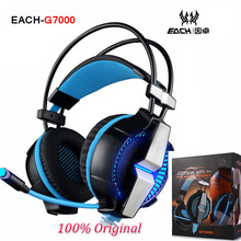 EACH G7000 7.1 Virtual Surround Sound USB Vibration Gaming Headphone Game Headset Headband Earphone Mic LED Light for PC Gamer