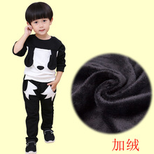 Small Children's Garment Winter Suit Baby Cartoon Directly Cuffless Trousers Pure Cotton Baby Embroidery Children 2 Pieces Kids(China)