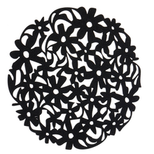 Round Laser Cut Flower Felt Placemats Kitchen Dinner Table Cup Mats Cushion Black