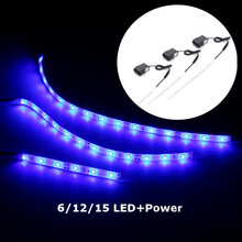 Waterproof IP65 10/20/25 cm 6/12/15 LEDs Strip Light 12V DC 3528 SMD Aquarium LED BLUE Light Strip Lamp With Power