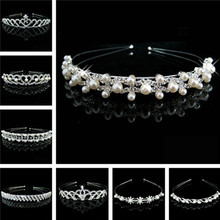 Fine jewelry wedding Pearl crystal Rhinestone crown tiara Headband for Bride and flower girl