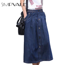 2016 Summer Casual Women Denim Skirts Ladies Loose Pockets Designed Long A-line Jean Skirts Plus Size L XXXL