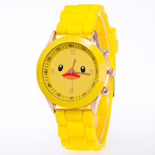 New Small Yellow Duck Dial Silicone Quartz Watch Baby Timepiece Relogios bayan kol saati children's watches Timer Clock