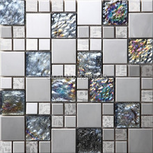 Black Metal Crystal Iridescent Glass 3D Mosaic Tile Wall tile kitchen/TV backsplash ceiling wall arttile Free shipping,LSA007-47