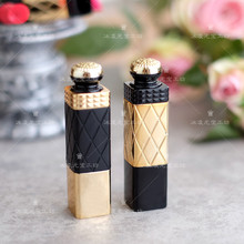 Free shipping high quality DIY lipstick empty tube can be filled directly gold black color lipbalm tube container(China)