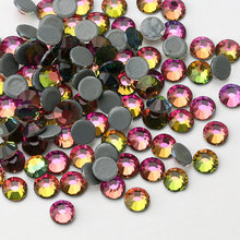 Top quality DMC Rainbow Hot-Fix Rhinestones SS16-SS30 Crystal glass Iron On Rhinestone for clothes wedding decoration(China)