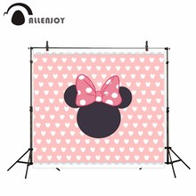 Allenjoy photography backdrop pink bow tie little mouse baby Birthday theme background customize photocall camera fotografica