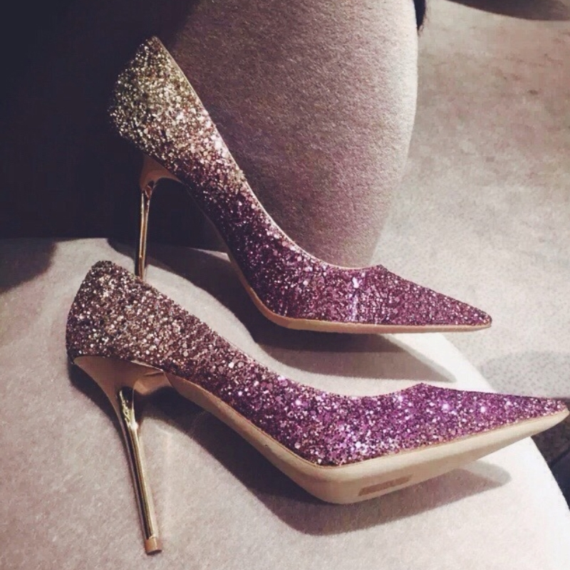 New fashion bling hollywood star women pumps thin heel pointed toe glitter wedding party sweet high heel women causal shoes 50<br><br>Aliexpress