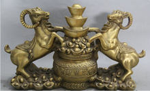 "ZSR 1012+++++14"" Chinese Brass Zodiac Year 2 Sheep Treasure Bowl Wealth Goat Statue Sculpture"