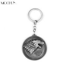 Game of Thrones House Targaryen Emblems Three Headed Dragon Keychain Stark Direwolf Lannister Lion Keyrings Key Holder Men Gift