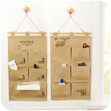vanzlife wall hanging storage bag cloth linen back door storage pockets small objects pouches