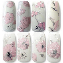 2015 New Watch Nails Rushed Beauty Water Decals Nail Art Decorations Stickers Manicure 3d Sticker Decal Embossed Pink Flowers