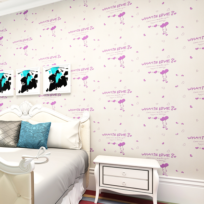 beibehang mported environmentally children s room wallpaper boys and girls pink letters of the children s room wallpaper<br>
