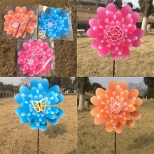 Butterfly Peony Flower Colourful Wind Spinner Windmill Home Garden Decor New(China)