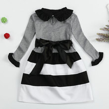 Autumn Winter Stripe Wavy Dress Bow For Girl Long Sleeve Casual Kids Dresses Ribbon Bow Princess Party Clothing For 8 Years Girl