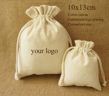 (50 pieces/lot)Canvas Drawstring Bag Cotton Pouch/Product Packaging/Jewelry Pouch Custom Logo/Size Free Logo Print 10x13cm