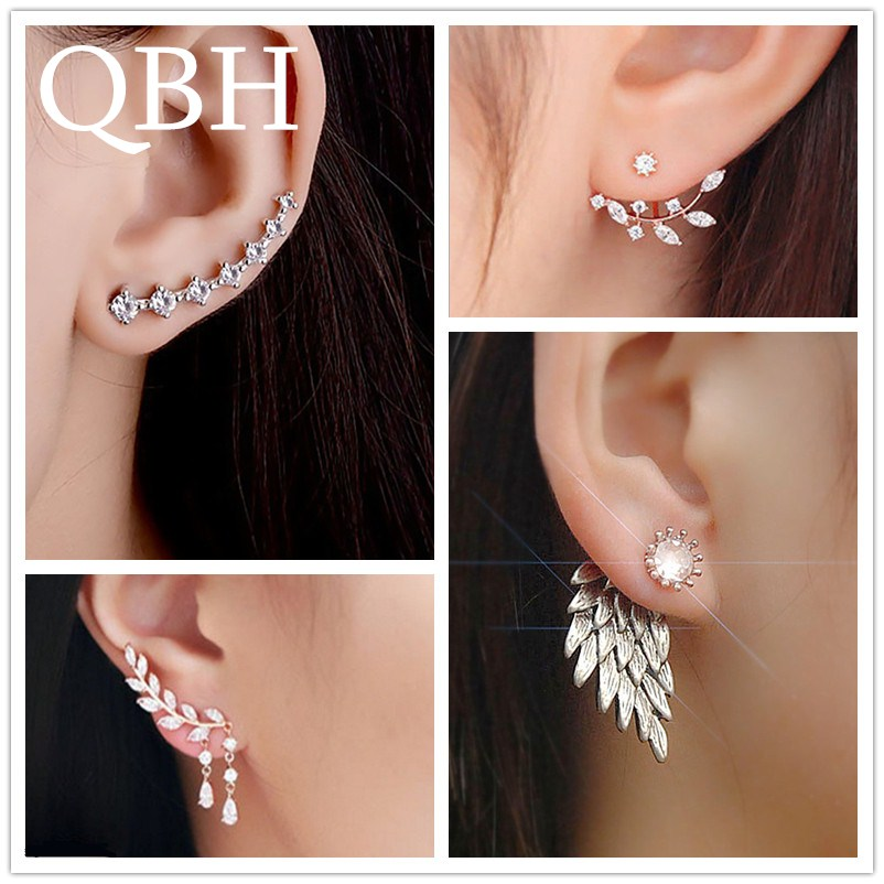 New Fashion Simulated Pearls Pendientes Bijoux Angel Wings Leaf Feather Flowers Stud title=