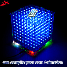 zirrfa 3D8 mini Cubeeds with excellent animations /3D CUBEEDS 8 8x8x8 Junior, LED Display,LED Music Spectrum,electronic diy kit