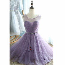 Silver Gray Lavender Bridesmaid Dress Short Tulle Crystal Belt Plus Size Wedding Party Guest Dresses 2018 Girls Prom Gowns Tulle