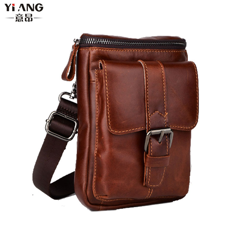 New Genuine Leather Cowhide Men Fashion Phone Case Messenger Shoulder Cross Body Pack Waist Pack Belt Pouch Bag(China)
