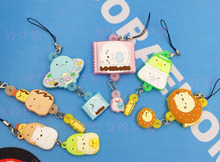 6 pcs/set Genuine SAN-X toys Anime Sumikko Gurashi figure toy kawaii mini animal pvc figures phone strap/Keychain pendant toys
