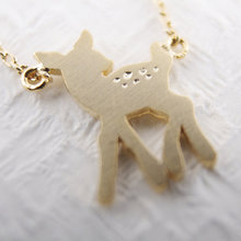 Daisies Pendant Necklace deer Baby bambi tiny little small  simple cute gift wedding For Girl Women One Piece