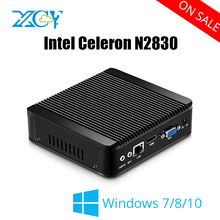 XCY Mini PC Celeron N2830 Windows 7/8/10 HTPC Thin Client Nettop HDMI VGA WiFi Micro Desktop NUC Fanless Noiseless Full Aluminum