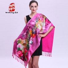 Autumn and winter thick ultra long mulberry silk digital double faced silk scarf brushed scarf double layer cape(China)