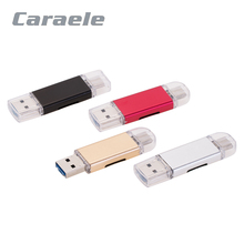 Creative Caraele High Stability 2 in 1 USB 2.0 OTG Card Reader Adapter With Type C Micro USB For Micro SD TF Flash Memory Card(China)