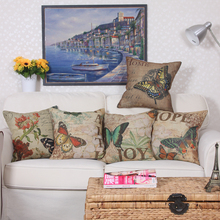 Fashion Beautiful Linen Butterfly Cushion Cover Sofa Decorative Linen Vintage Throw Pillows Case Waist Pillow 50*50cm/60*60cm(China)