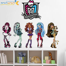 monster high popular cartoon wall stickers for kids room zooyoo1416 bedroom adesivo de parede art pvc wall decal home decoration(China)