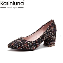 Buy Karinluna 2018 High Large Size 33-45 Square High Heels Slip Women Pumps Pointed Toe Shoes Woman Wrapped Pumps for $26.12 in AliExpress store
